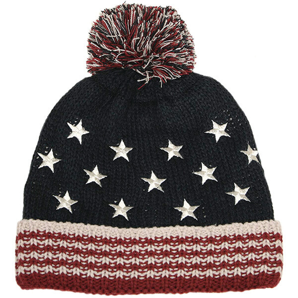 Stripes and Embroidered Stars American Flag Beanie