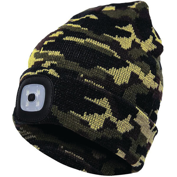 Army Green Night Scout Rechargeable LED Beanie Hat
