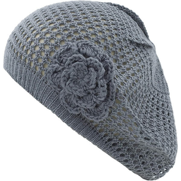 Beret Style Slouchy Flower Beanie for Hot Temperatures