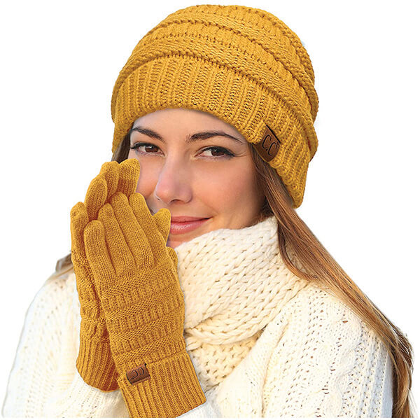 Best Selling Yellow Cable Knit Beanie With Gloves