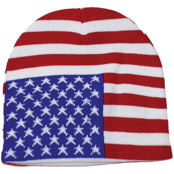 Classic Knit American Flag Beanie