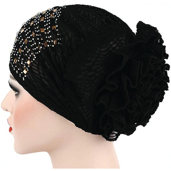 Flower Hat Rhinestone Turban Beanie