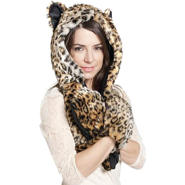 Leopard Print Furry Beanie for All Winter Events