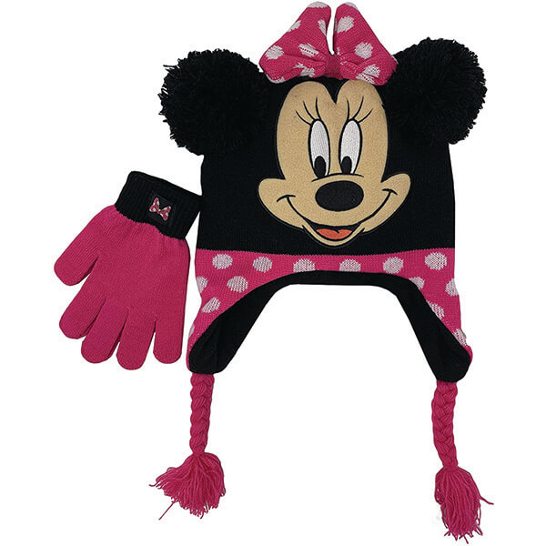 Minnie Mouse Beanie with Strings and Gloves