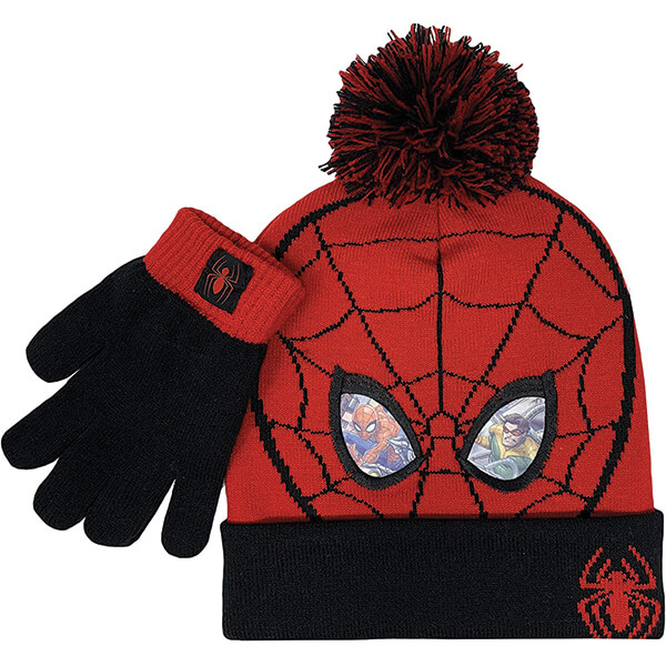 Spiderman Beanie With Mittens for Five to Thirteen Years
