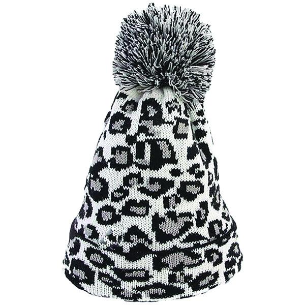 Tall Crocheted White Leopard Print Beanie