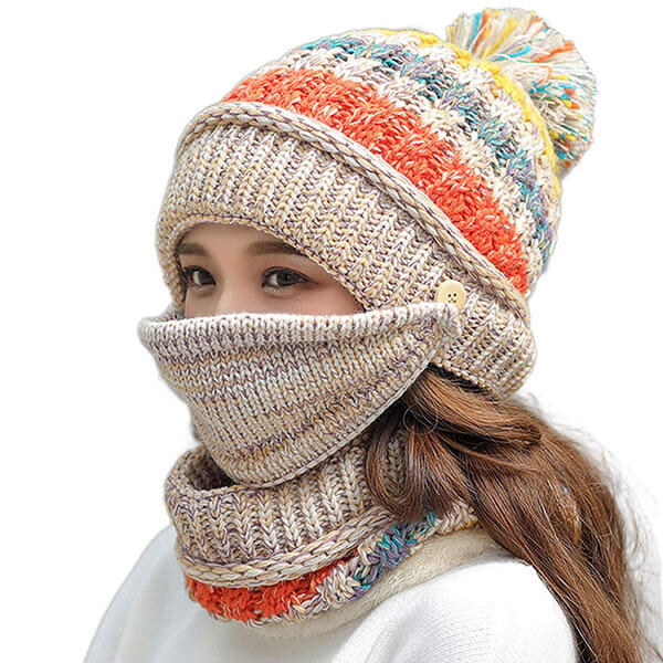 Worth Investing Protective Beanie With Scarf and Mask