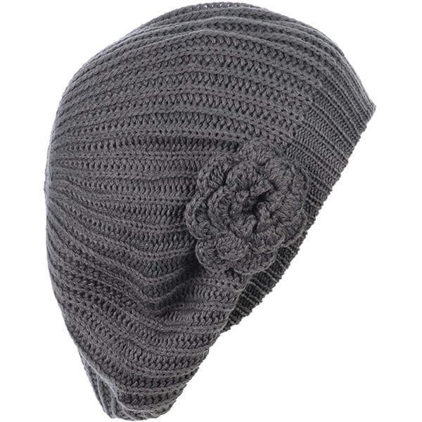 Crochet Knit Beret Flower Beanie