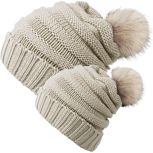Mommy And Child Beanie With Ball On Top