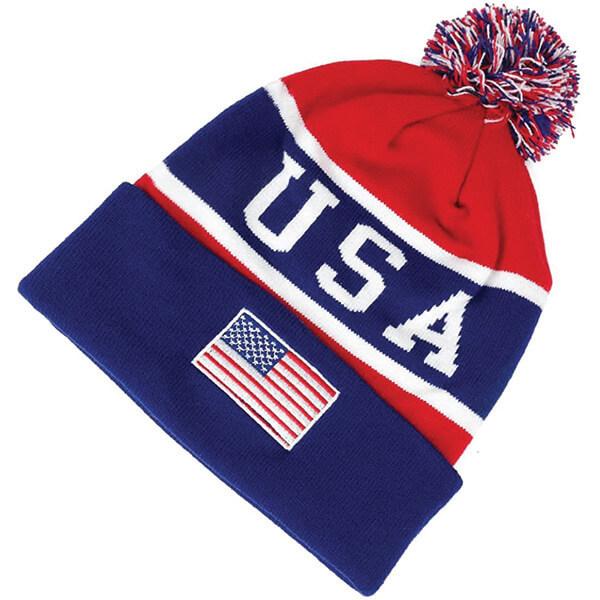 USA Flag Embroidered Pom-Pom Beanie Hat