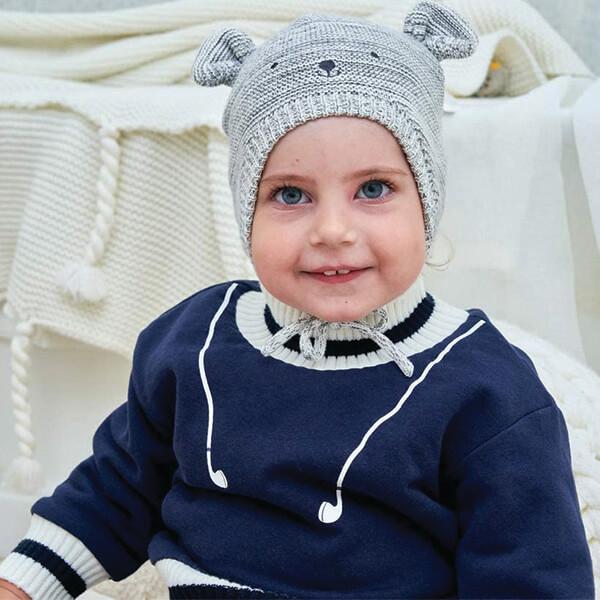 Beanie With Tie Straps for Children Below 1 Year
