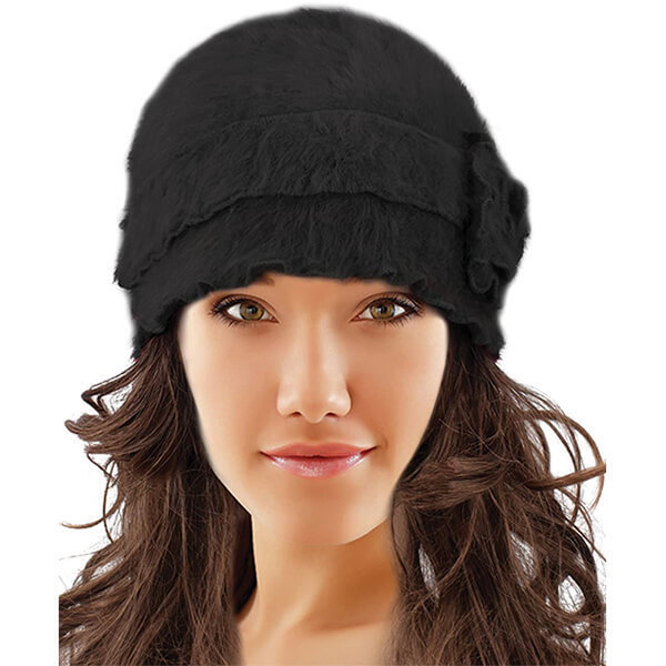 Black Angora Wool Winter Hat with Ruffled Flower