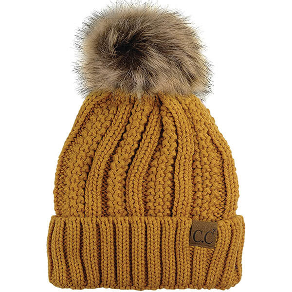 Cute Pom-pom Yellow Beanie for Winter Activities