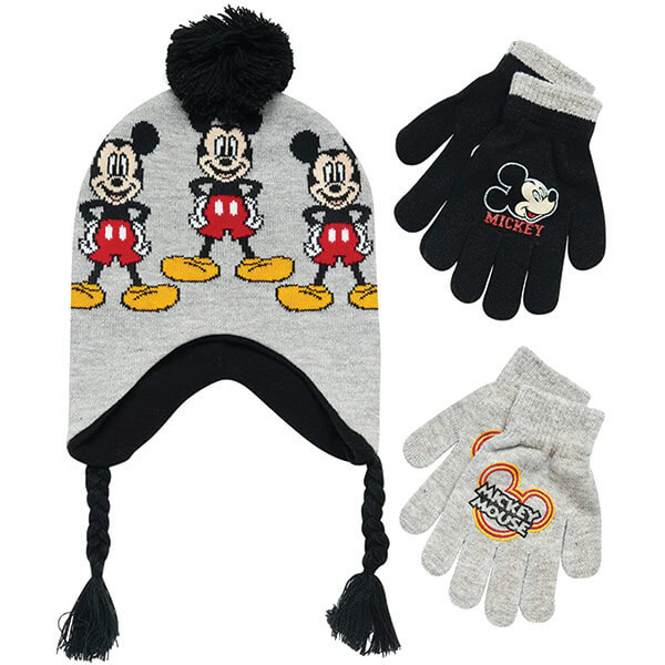 Disney Mickey Mouse Beanie and 2 Pair Gloves