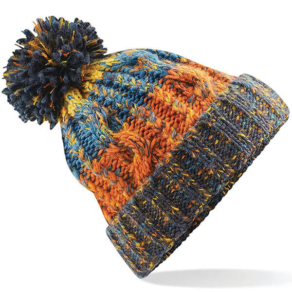 Funky Pattern Beanie with Ball on Top