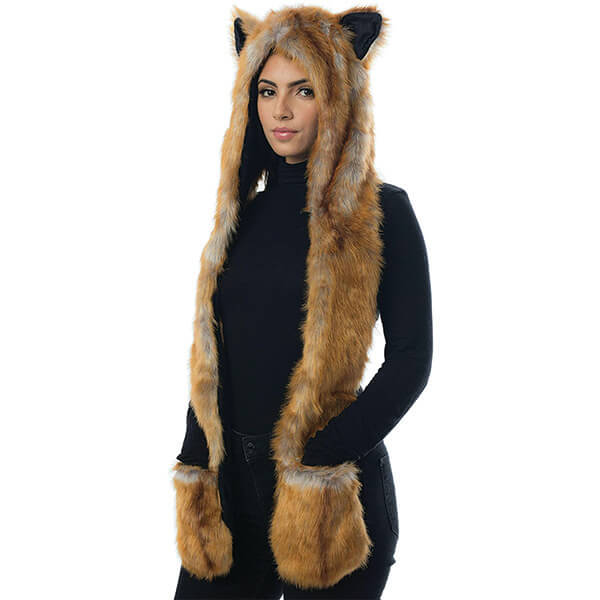Outstanding Super Soft Fox Beanie With Scarf and Mittens