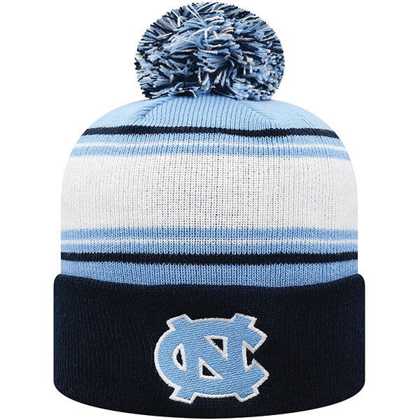Striped North Carolina Pom-Pom Beanie