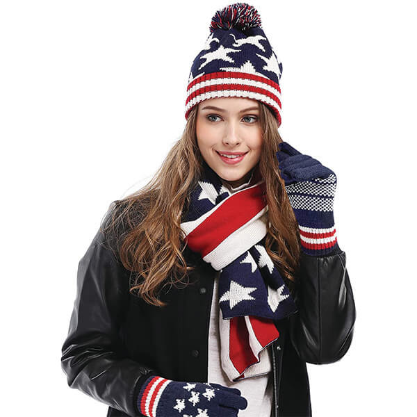 Women's USA Flag Print Beanie, Scarf, and Gloves Set