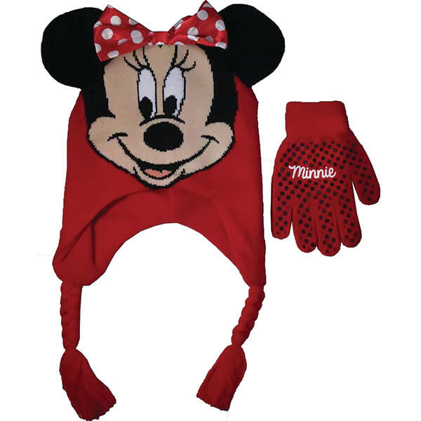 Minnie Mouse Red Scandinavian Beanie and Gloves