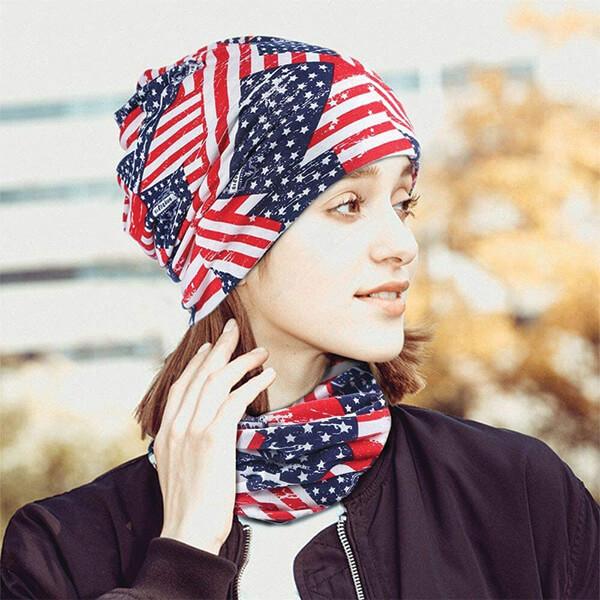 USA Flag Cotton Slouchy Beanie