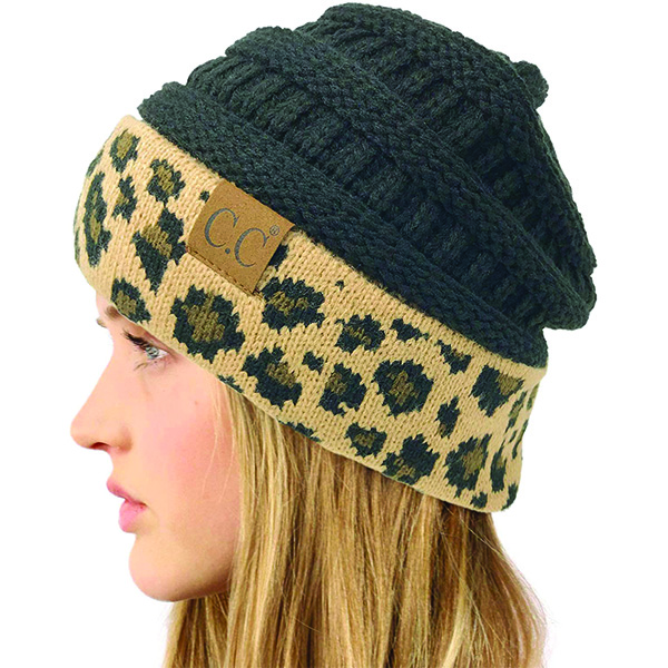 Warm Leopard Print Cuff Beanie for Everyone