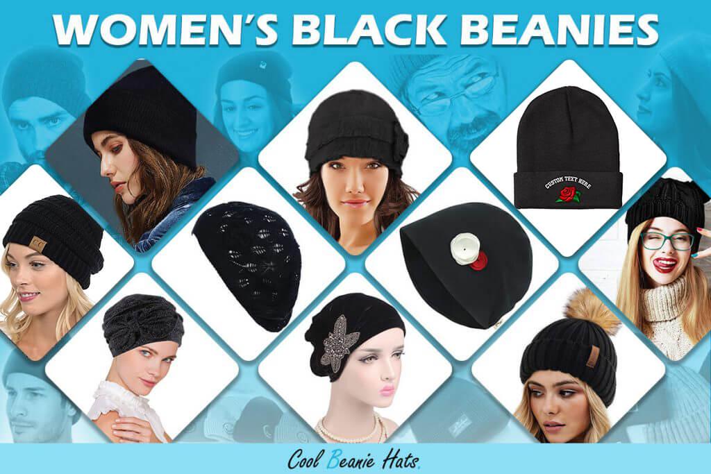 Womens Black beanies
